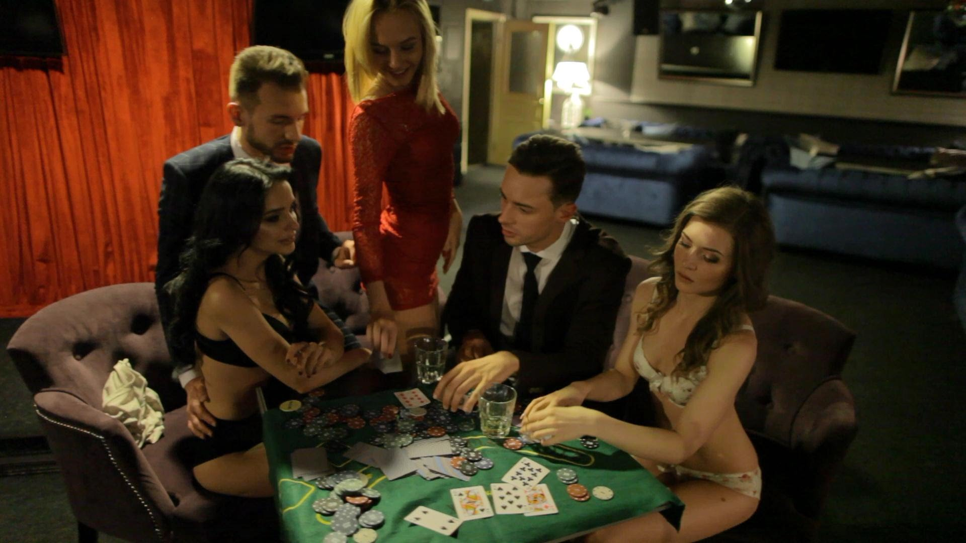 Sexy girls playing strip poker