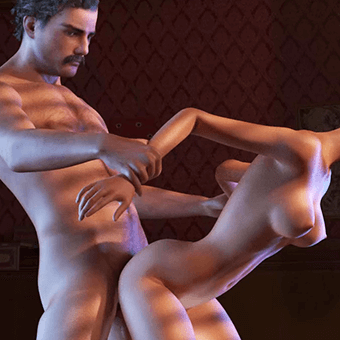 Fuck a hot slut doggy in porn game!